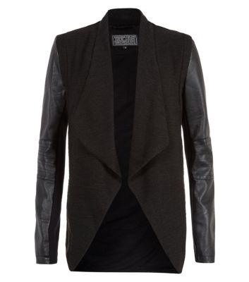 Black Leather-Look Sleeve Waterfall Jacket