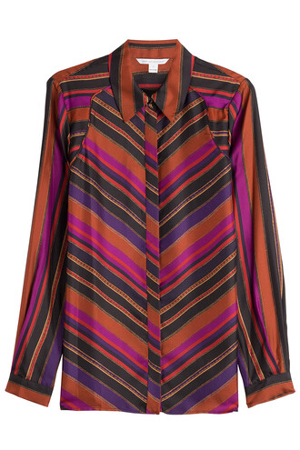 shirt silk multicolor top