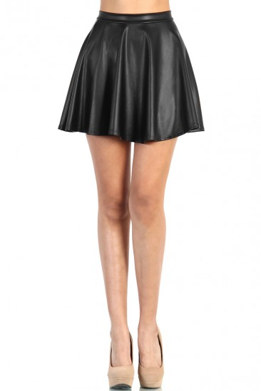 LoveMelrose.com From Harry & Molly | BLACK FAUX LEATHER SKATER SKIRT FROM LOVE MELROSE