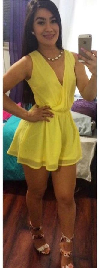 romper yellow dressy v neck