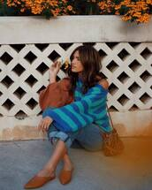 sweater,brown,blue,rocky barnes,instagram,celebrity,blogger style,blogger,flats,fall outfits