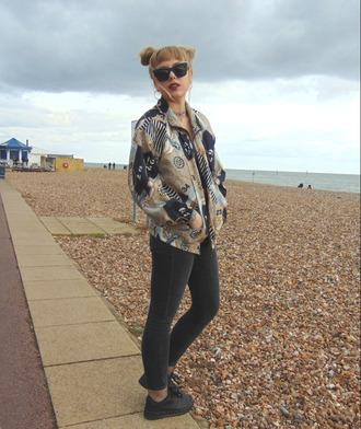 the velvet black grunge blogger jacket top jeans sunglasses