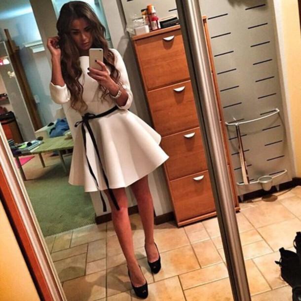 dress white ribbon cute dress fashion