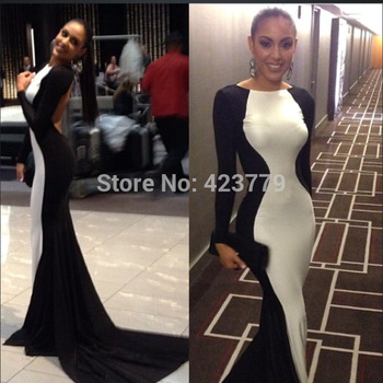 Aliexpress.com : Buy vestidos de fiesta 2014 White And Black Sheath Evening Dress Long Hot & Sexy Backless Long Sleeves Prom Dress from Reliable prom dress design suppliers on 27 Dress