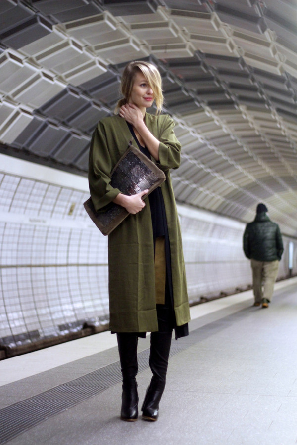 ohh couture blogger coat olive green pouch green long coat
