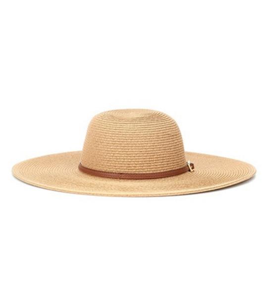 Melissa Odabash Jemima leather-trimmed hat in beige / beige
