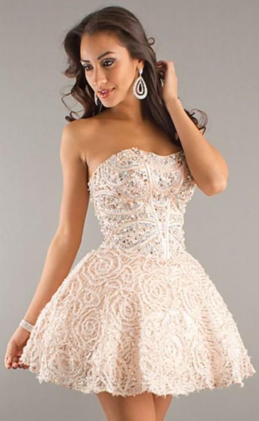pretty, dress, short dress, diamonds, nude, nude dress, prom dress ...