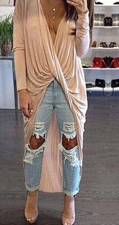 top,evenyou,light blue jeans,draped top,draped,high low dress,v neck,shirt,blouse,cardigan,twisted front,beige,long sleeves,ripped jeans,skinny jeans