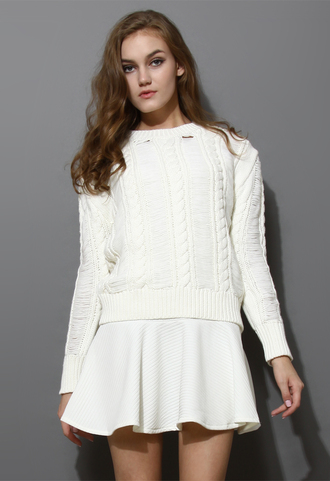 dress shredded cable knit twinset white