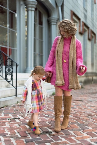 something delightful blogger sweater dress scarf shoes bag jewels fall outfits sweater dress boots knee high boots mother and child