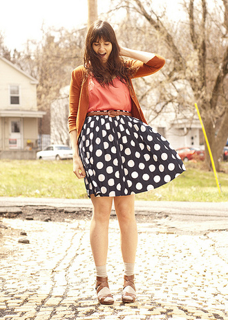 blue skirt polka coral sandals skirt belt blouse shoes jacket big pattern
