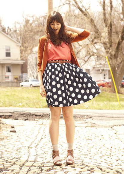 blue skirt polka coral sandals