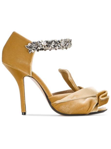 No21 women sandals leather velvet yellow orange shoes
