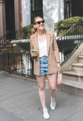 wit&whimsy,blogger,sweater,jacket,tank top,shorts,shoes,bag