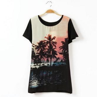 t-shirt top short sleeve palm tree print sunset miami black t-shirt cool t-shirt