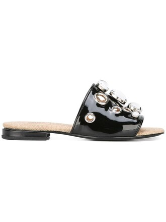 women embellished sandals flat sandals leather black shoes