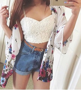 blouse white crop tops lace top girly cardigan high waisted shorts belt flower cardigan