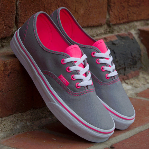 gris shoes néon fluo vans pink vans off the wall