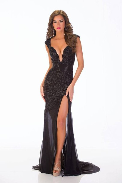 black dress gown v-front slit dress dress black long prom prom dress plunge v neck