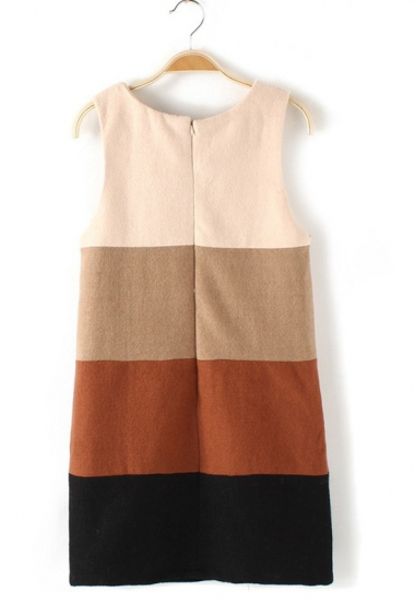 Color Block Wool Vest Dress