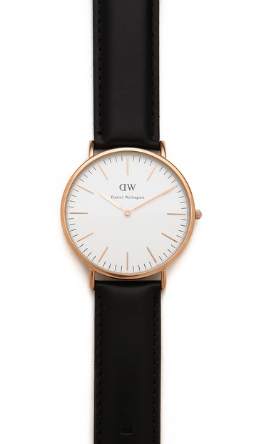 Daniel Wellington Sheffield 40mm Watch with Black Leather Band | EAST DANE
