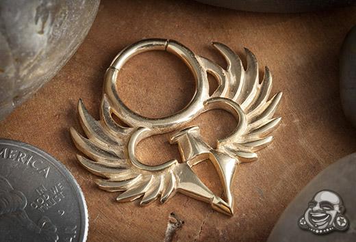 18k gold plated phoenix septum clicker