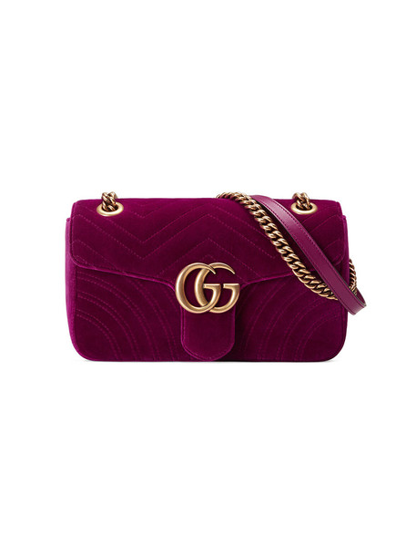 gucci metal women bag shoulder bag silk velvet purple pink