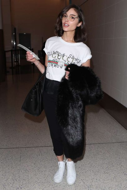 t-shirt top pants black and white olivia culpo