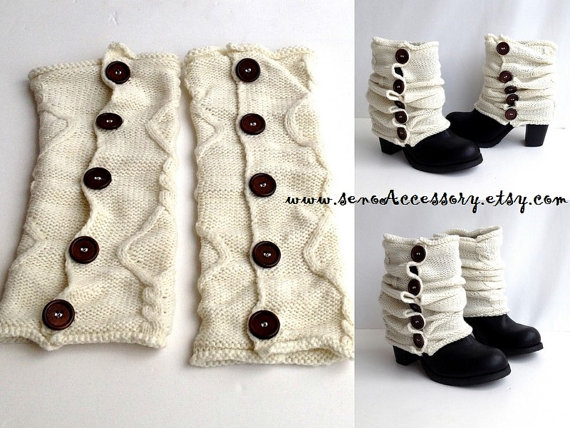 Knitted boot cuffs botton boot socks boot toppers leg warmers gift guide ivory cream knit boot cuffs for her christmas gifts senoaccessory