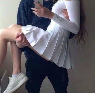 skirt white grunge white skirt grunge-like top long sleeves crop tops style school girl tights mini skirt fashion iphone blouse