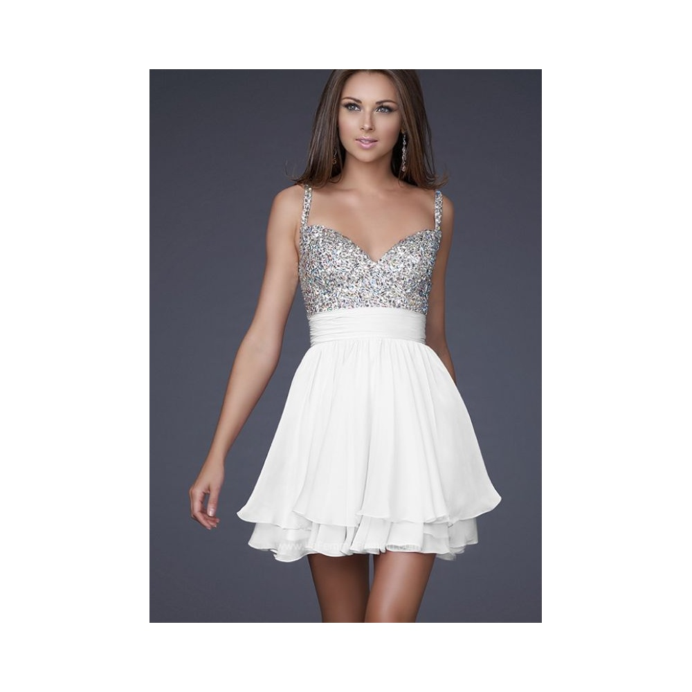 La Femme White 16813 Crystal Embellished Dress with Chiffon Skirt UK