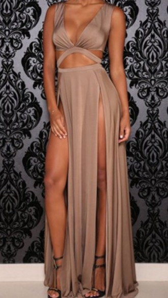 dress beige gown
