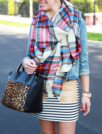 lemon stripes blogger dress blanket scarf leopard print striped dress tartan scarf denim jacket