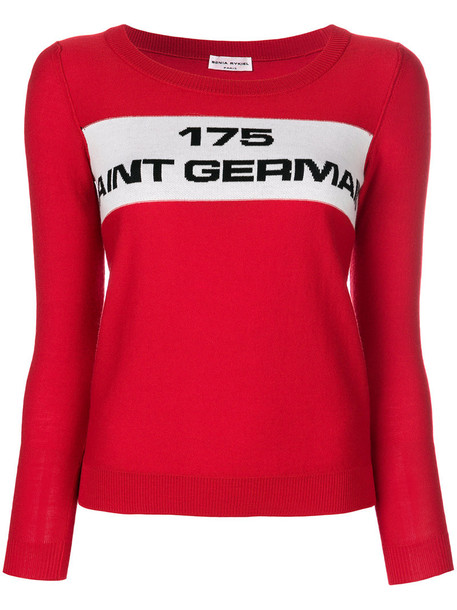 sweater women cotton wool red