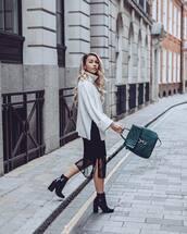 bag,backpack,high heels boots,vinyl,black dress,midi dress,sweater,turtleneck sweater,earrings