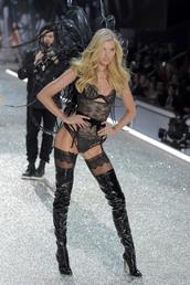 underwear,elsa hosk,model,runway,over the knee boots,lace,lingerie,lingerie set,victoria's secret,victoria's secret model