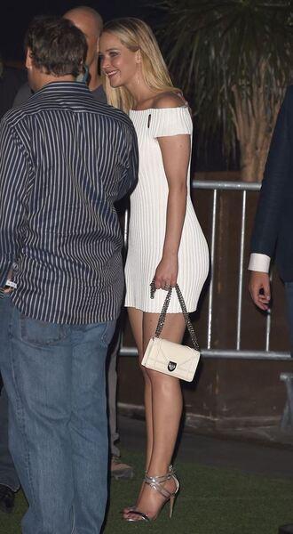 dress off the shoulder sandals jennifer lawrence white dress summer dress