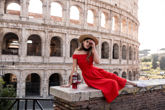 the fashion fraction blogger dress shoes hat red dress midi dress straw hat weekend escape romantic dress travel italy off the shoulder dress