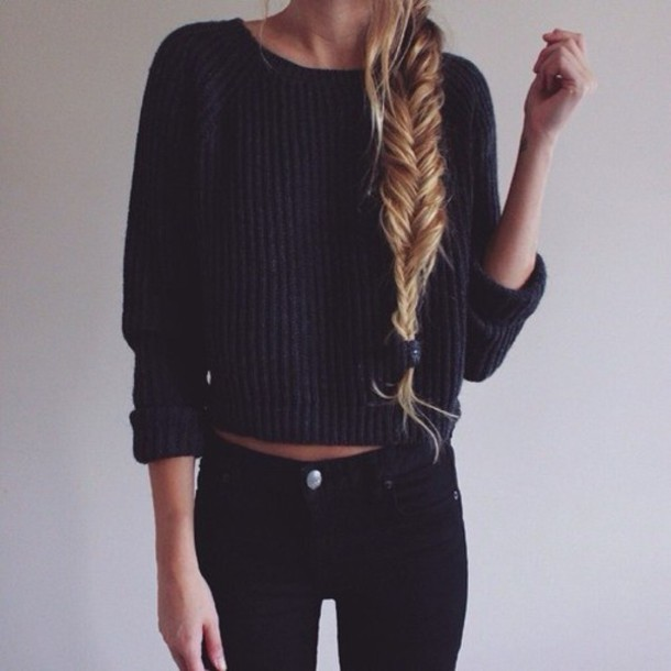 Sweater: pullover, cropped, dark, tumblr outfit, blonde hair ...