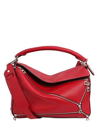 zip bag leather red