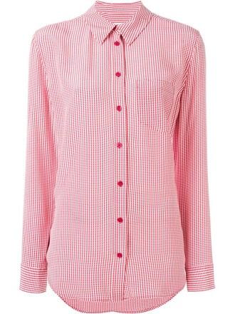 shirt women print silk gingham red top