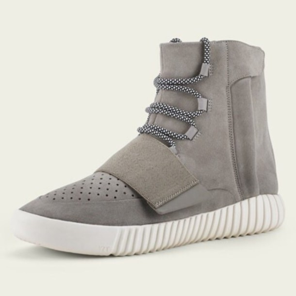 shoes yeezy adidas adidas yezzy fashion love kayne west yeezy boost 750 high top sneakers grey