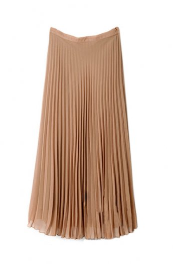 Middle length pleated camel skirt(coming soon) [ncstj0011]