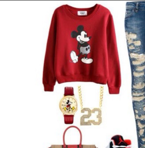 mickey mouse red sweater watch shirt