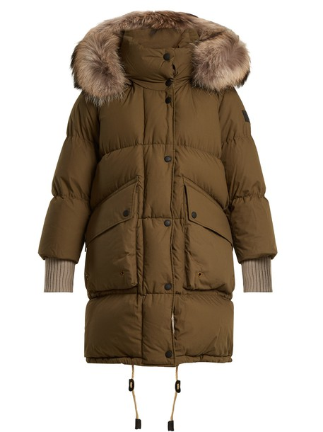 Burberry coat fur quilted cotton green