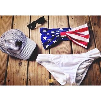 swimwear american flag summer bikini bandeau bikini swimwear white bow red white and blue swim patriotic red white and blue bow swimwear top flag swimwear