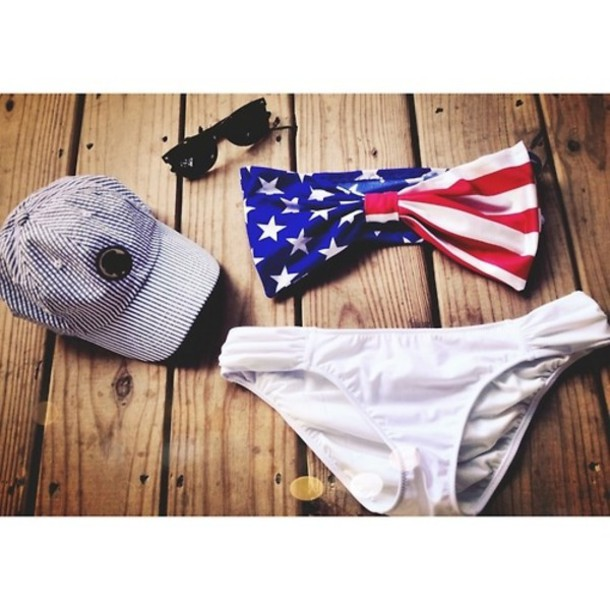 swimwear american flag summer swimwear bikini bandeau bikini swimwear white bow bandeau bikini red white and blue swim patriotic red white and blue swimwear bow swimwear top flag swimwear