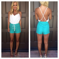 Crochet Two Tone Romper - Aqua & White                           | Dainty Hooligan Boutique