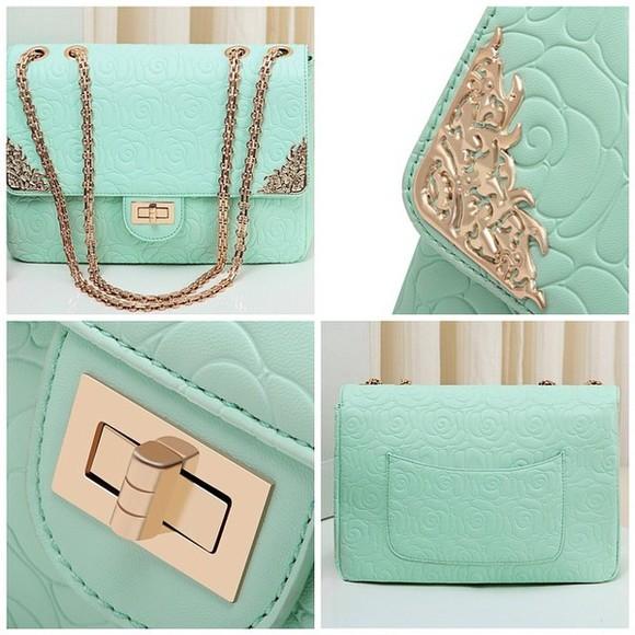 cute rose bag mint mint bag embossed gold gold strap cute bag teal teal bag