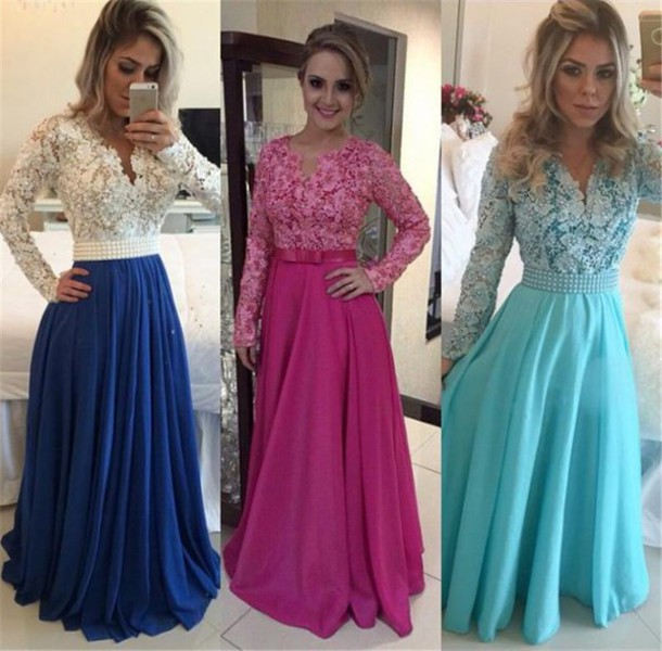 dress, royal blue prom dresses, long sleeves evening dresses ...